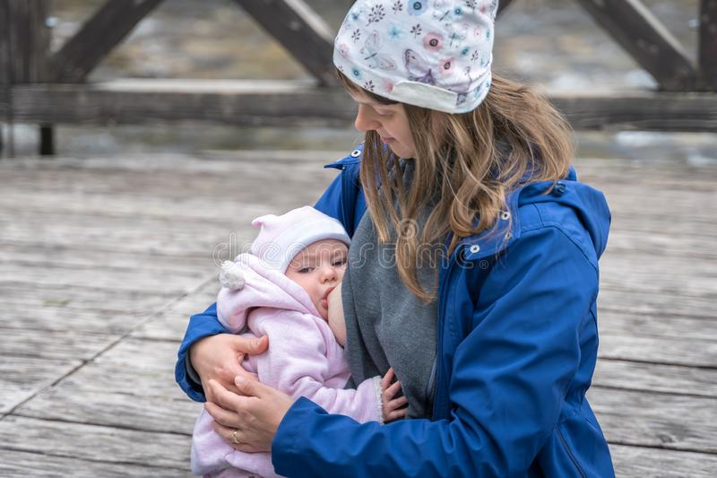 Mother breastfeeding her newborn baby girl in the park stock image