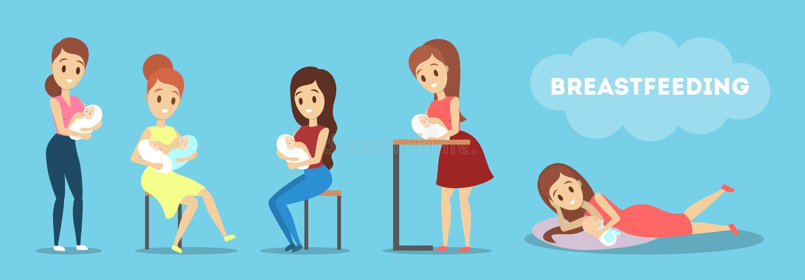 Mother breastfeeding her newborn baby set. Idea of child care. And motherhood. Feed child with breast.  flat vector illustration vector illustration