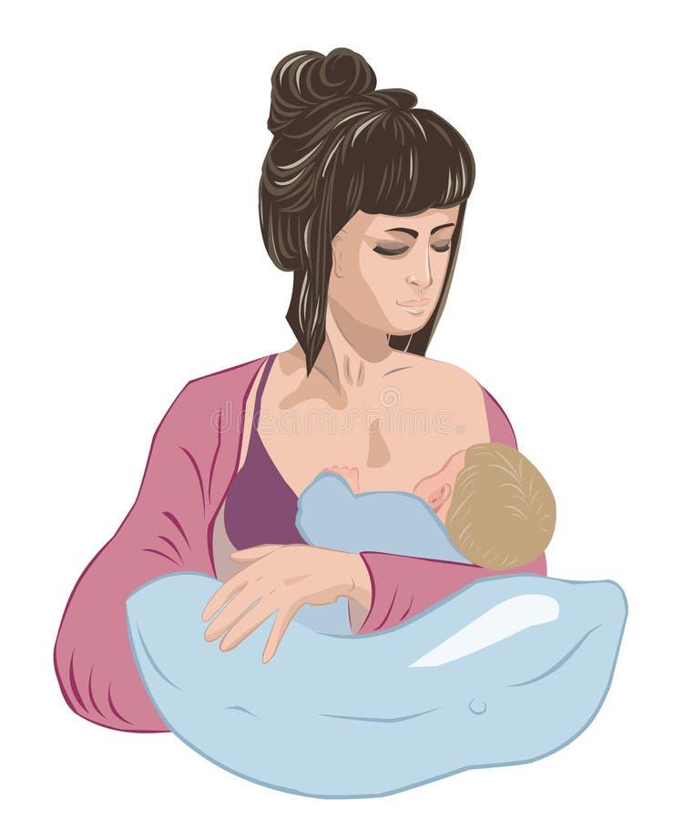 Mother breastfeeding infant baby child lulling him asleep on the nursing pillow like in cradle. Feminine mother breastfeeding infant baby child lulling little vector illustration