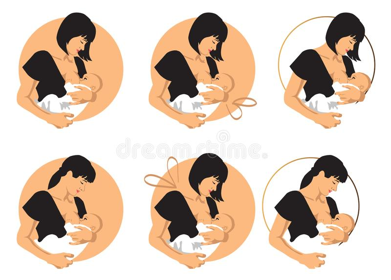 Mother breastfeeds baby royalty free illustration