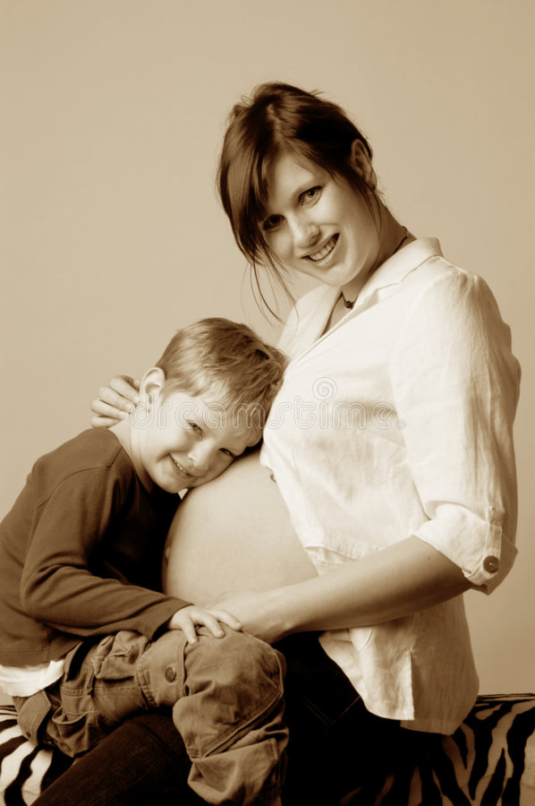 Download Mother and brother to be stock photo. Image of proud, expecting - 738152