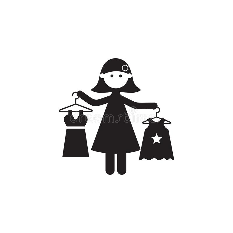 Mother Buys Daughters Clothes Icon Illustration Of Family Values