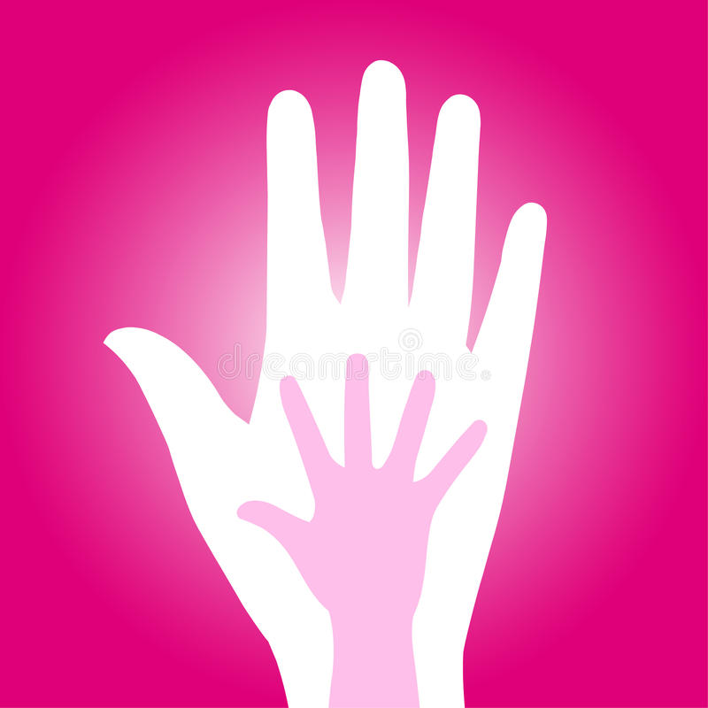 Mother care. Vector child hand in adult hand on pink background - mother love