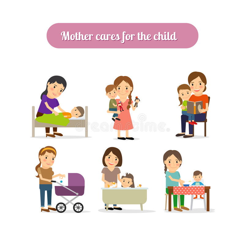 Mother cares for child characters set vector illustration