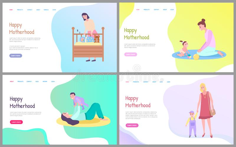 Mother Caring to Baby, Mom and Child Web Vector stock illustration