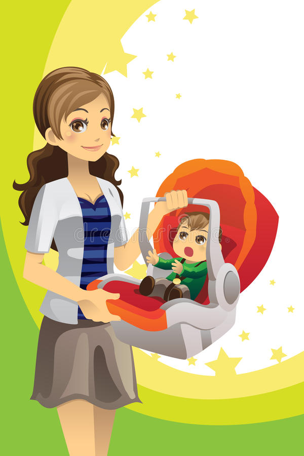 Mother carrying baby royalty free illustration