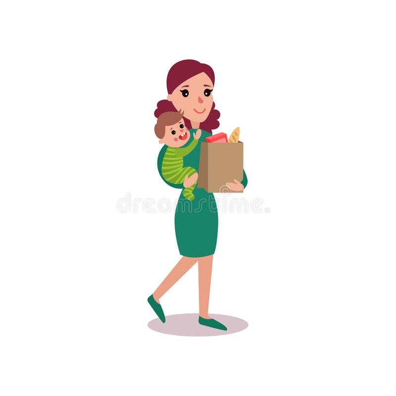 Mother carrying a grocery bag in one arm and baby in the other, super mom concept vector Illustration vector illustration