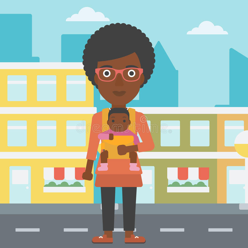 Mother carrying her son in sling. royalty free illustration