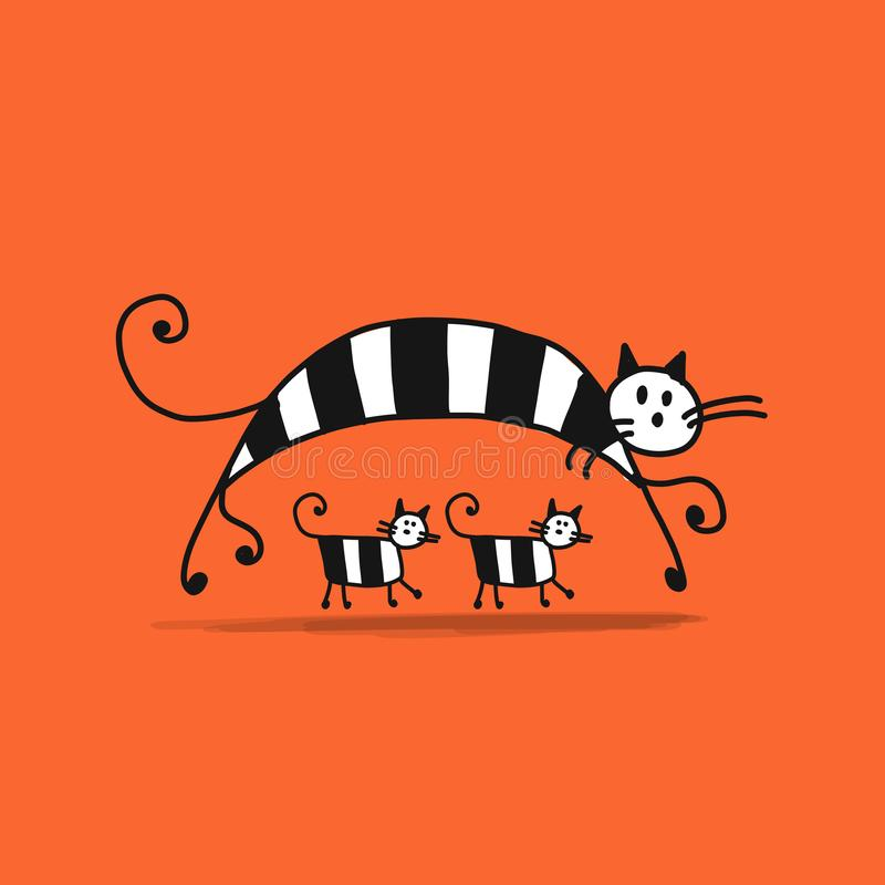 Free Mother Cat With Kittens, Sketch For Your Design Royalty Free Stock Photo - 110503265