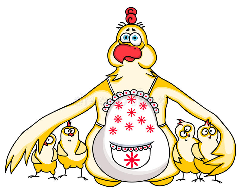 Funny Chicken Cartoons: Mother Chicken Protects Her Chickens. Funny Cartoon Image
