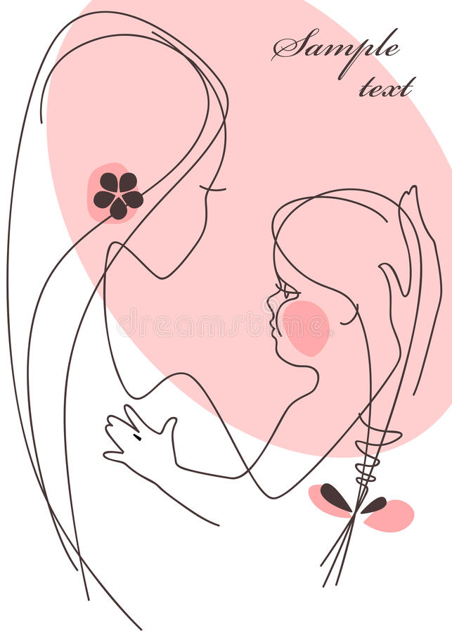 Mother and Child girl. Postcard 2 stock photography