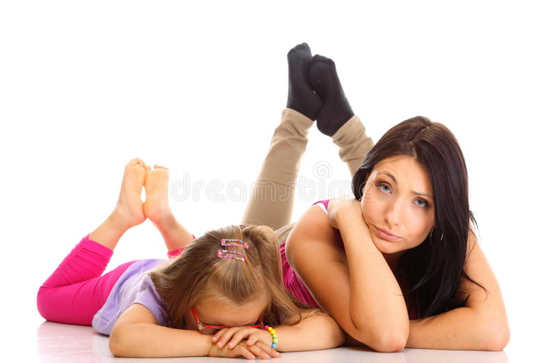 Mother and child having relationship difficulties. Parenthood and children upbringing. Mother and daughter little girl having relationship difficulties looking royalty free stock photos