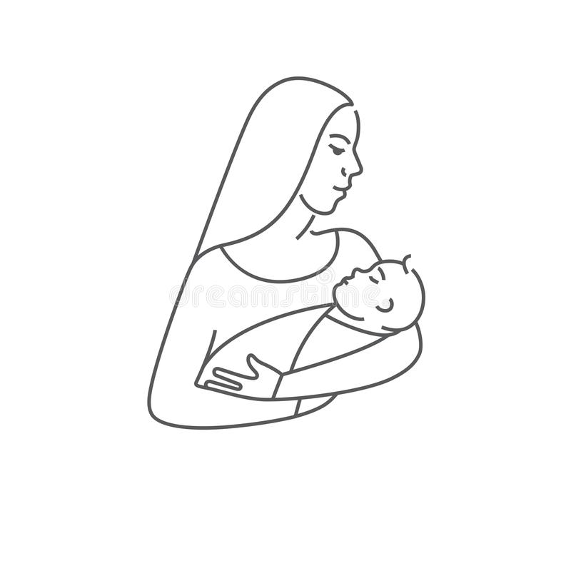 Mother with child in her arms. Line vector icon or logo of newborn baby with mother. Symbol of motherhood. vector illustration