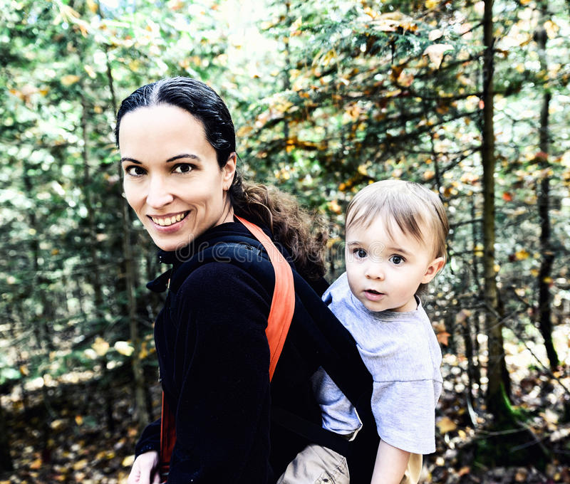 Mother and Child Hiking royalty free stock images