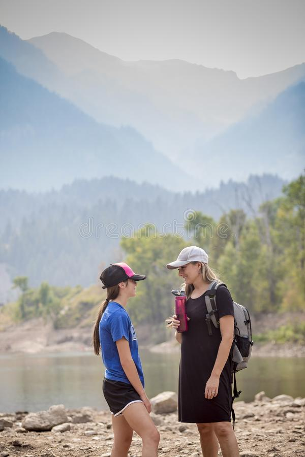 Mother and Child hiking together in the great outdoors stock image