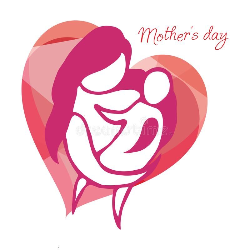 Mother with child. Line art icon, logo, sign. royalty free illustration