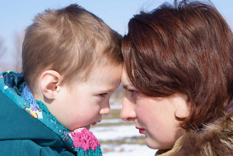 Download Mother And Child Look At Each Other Stock Image - Image of protection, punishment: 13450637