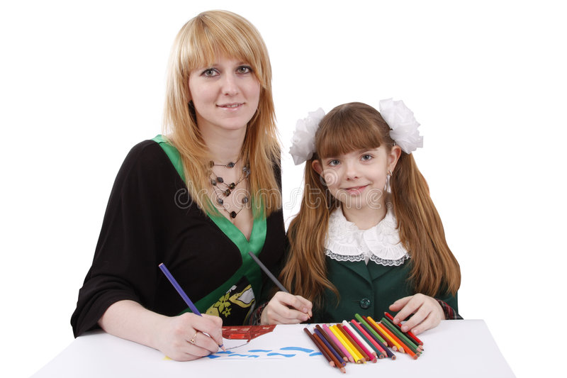 Mother and child painting together