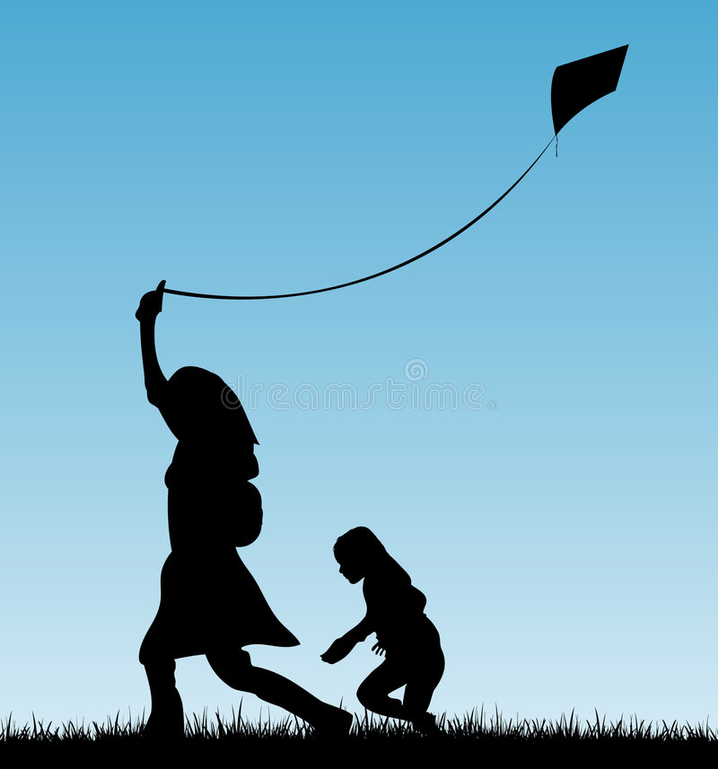 Mother and child playing with kite. Vector illustration of a mother and her child playing with a kite in a grass field as silhouette