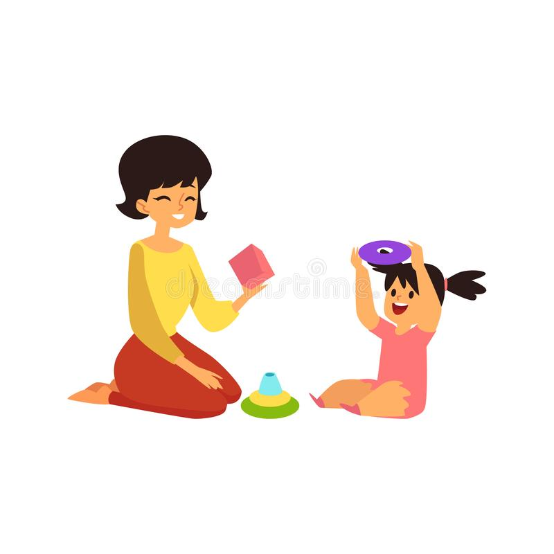 Mother and child playing learning games, happy family parent and toddler girl sitting on the floor royalty free illustration