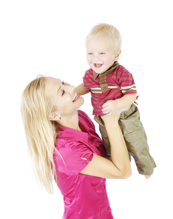 Mother Child Portrait. Happy Woman Raise Up Smiling Son, Little royalty free stock photos