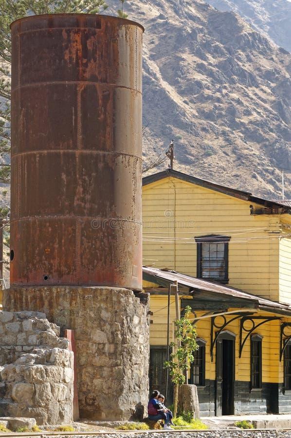 Traditional train station, matucana, peru: local mine train station royalty free stock photo