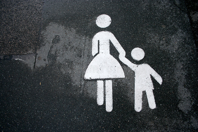 Mother and child sign holding royalty free stock photos