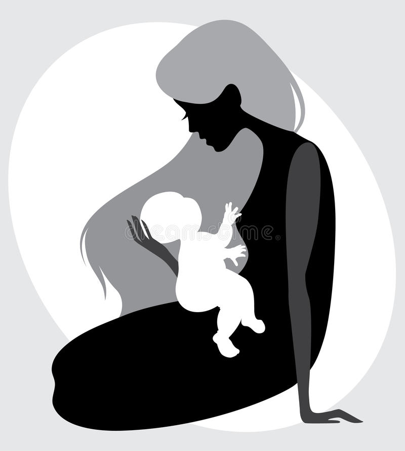 Love The Mother Child Silhouette: Mother And Child Silhouette Stock Photography