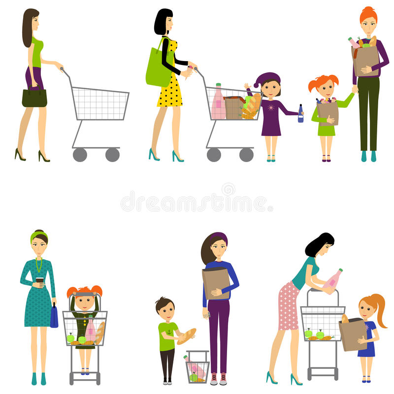 Mother with child in a supermarket / Vector / Mother with baby vector illustration