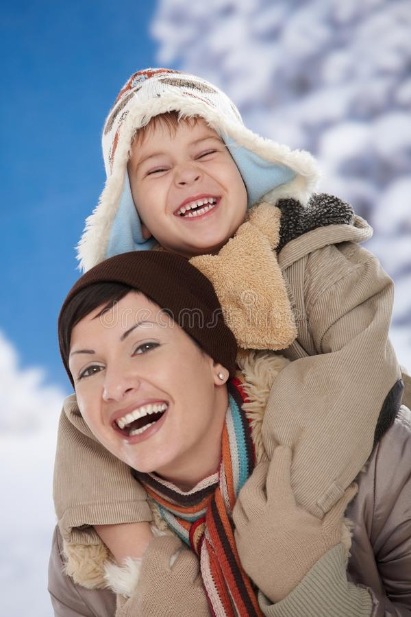 Download Mother and child at winter stock image. Image of december - 11578865
