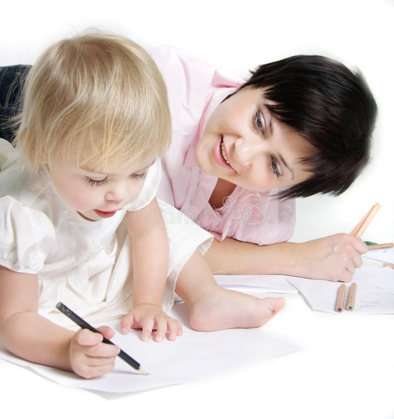 Mother and child writing over white royalty free stock photos