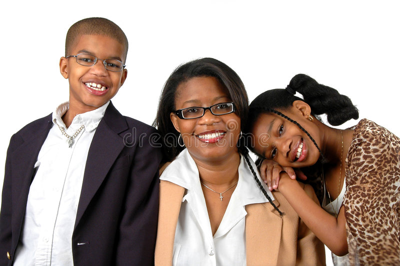 Mother and Children. Smiling over a white background