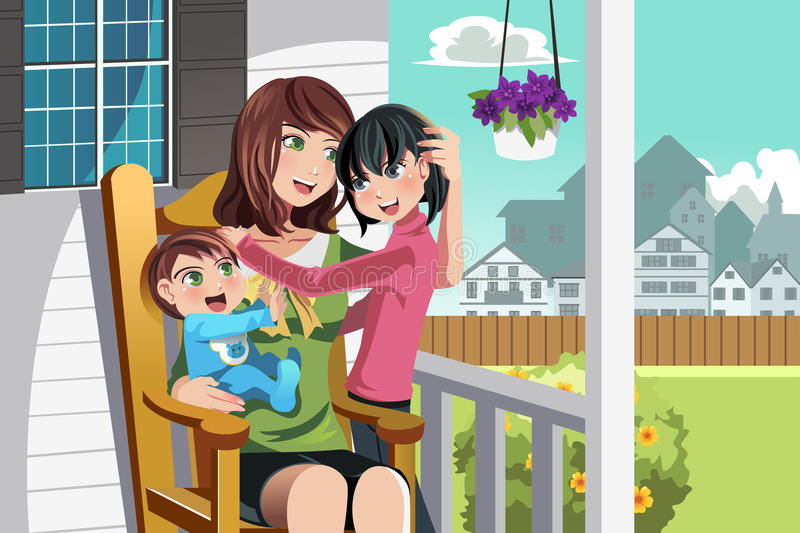 Mother and children royalty free illustration