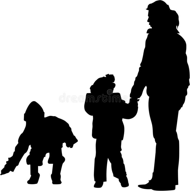 Mother and children stock illustration