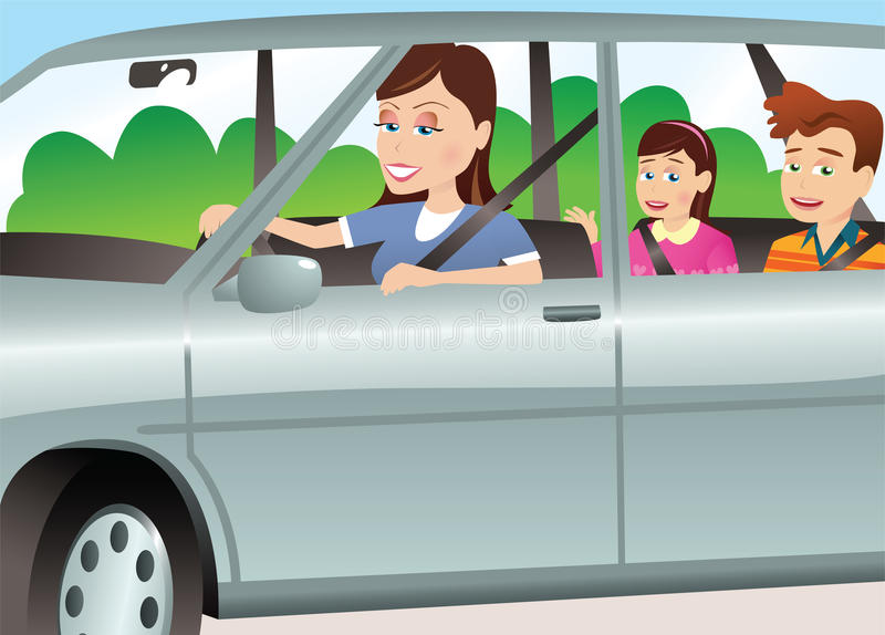 Mother and children in automobile royalty free illustration
