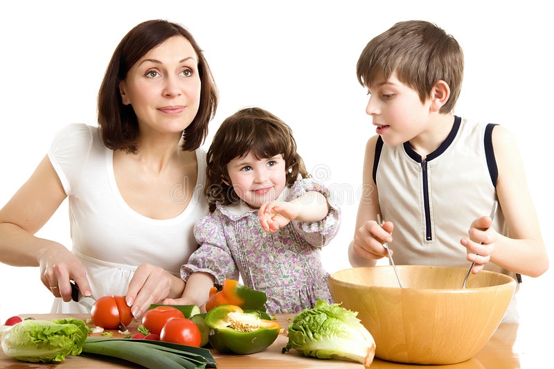 Download Mother And Children Cooking At The Kitchen Stock Image - Image: 5039951
