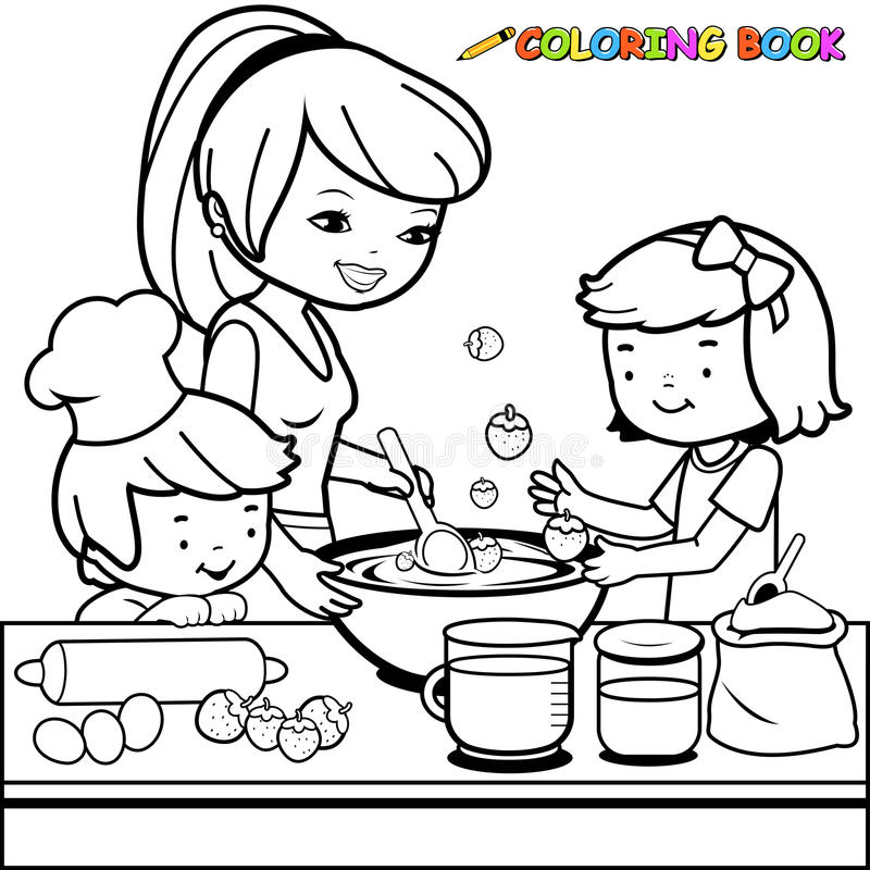 Mother and children cooking in the kitchen coloring book page. Black and white outline image of a mother cooking and her children helping her make a strawberry stock illustration