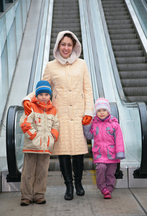 Download Mother And Children At Escalator Stock Image - Image: 6200869