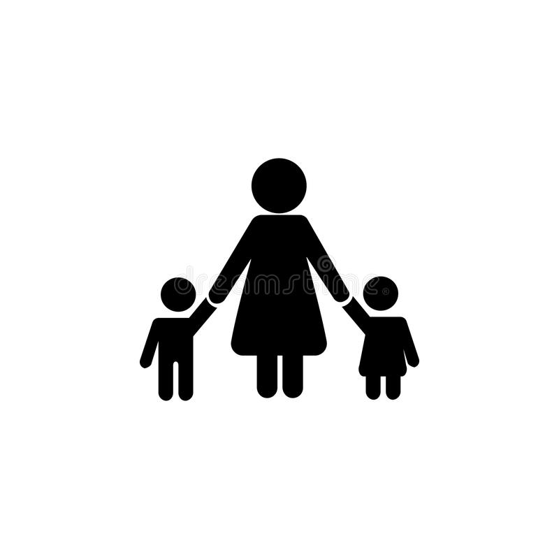 Mother Children pictograph with bonus love graphic icon. Simple black family icon. Can be used as web element, family design icon vector illustration