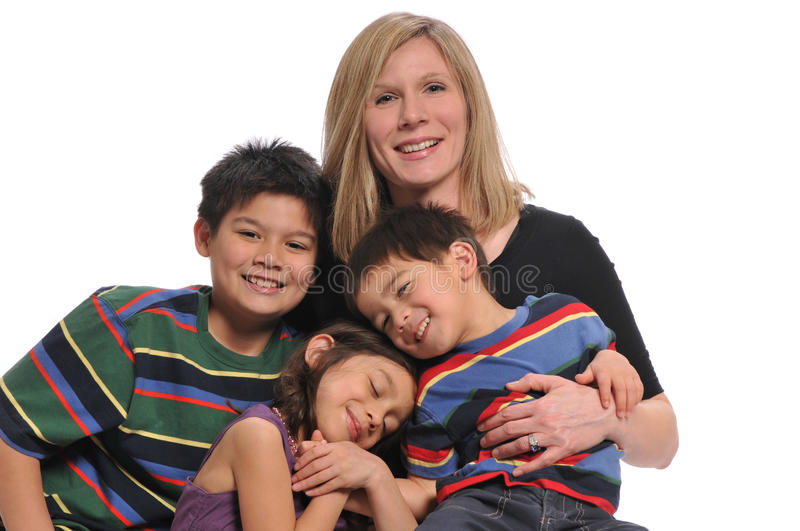Mother and children portrait. Having fun isolated on a white background stock photo