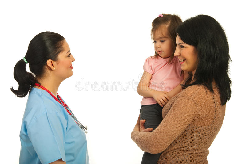 Mother Converse With Doctor Woman Stock Photos
