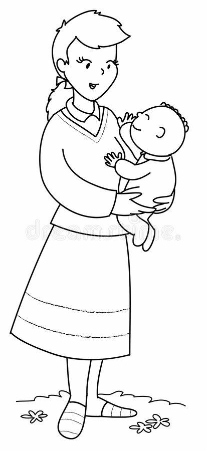 Mother with cute baby stock illustration