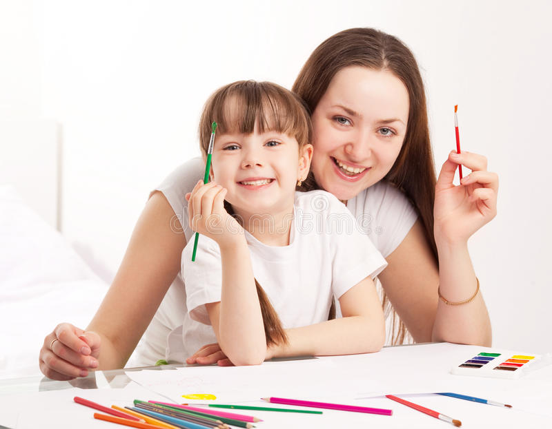 Download Mother and daughter stock image. Image of childhood, painting - 19699987