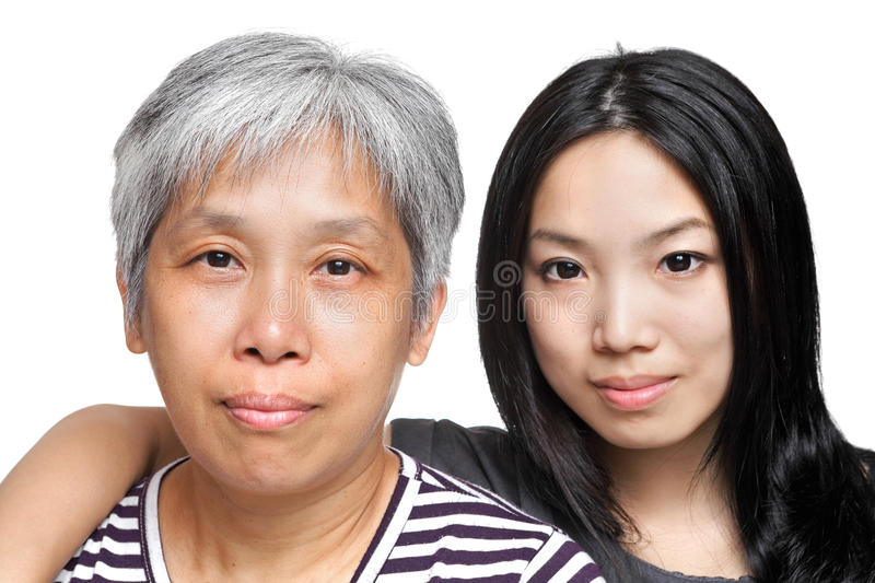 Mother and daughter. Over white background royalty free stock photos