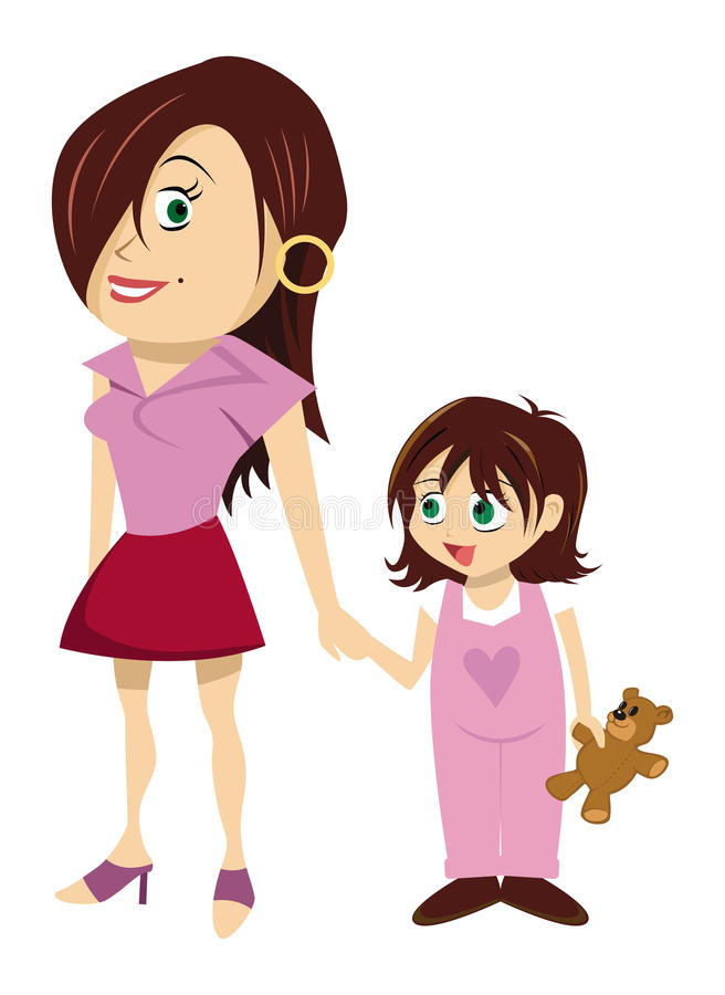 Mother and daughter royalty free illustration