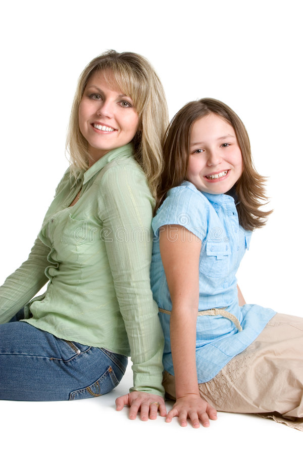 Mother Daughter. Isolated smiling mother daughter famiy stock image