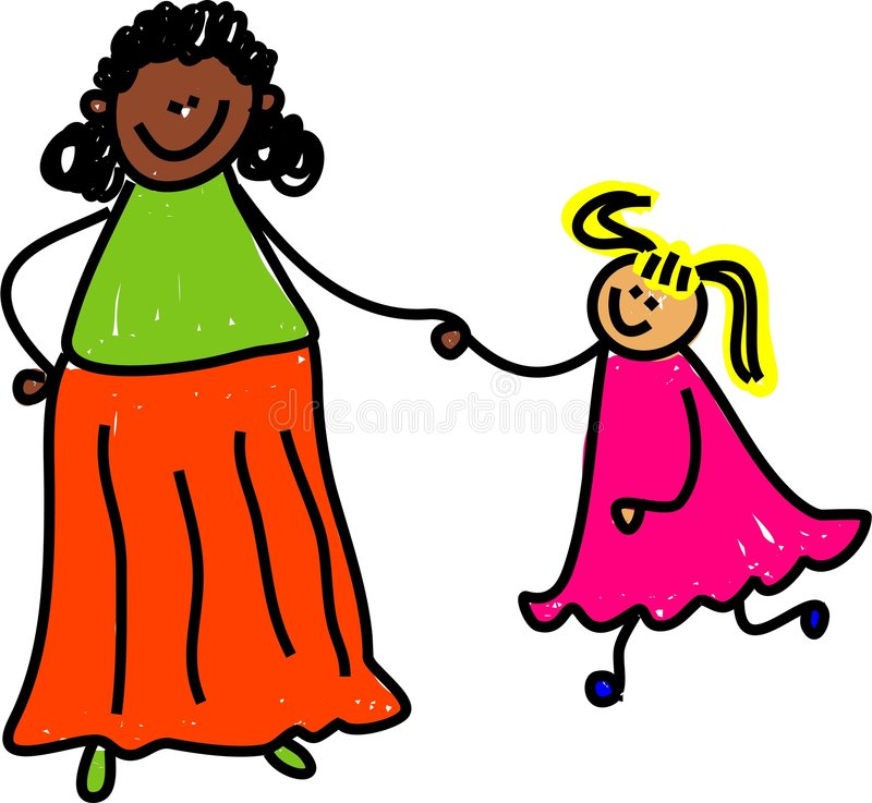 Mother and daughter stock illustration