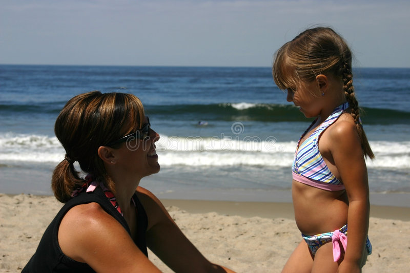 Download Mother and daughter stock photo. Image of bikini, beach - 463768