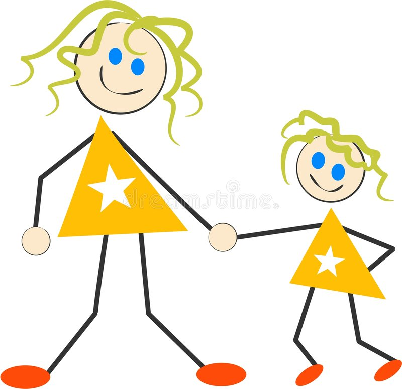 Mother and Daughter vector illustration