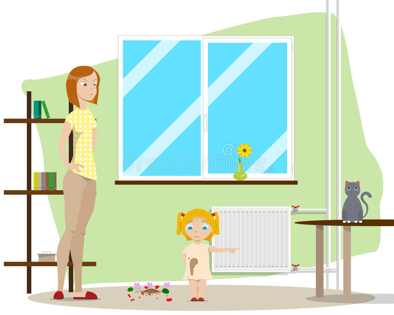 Mother with daughter stock illustration